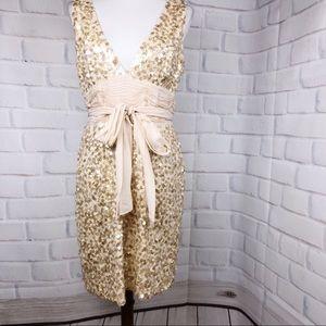 BCBG evening short dress, beige sequins